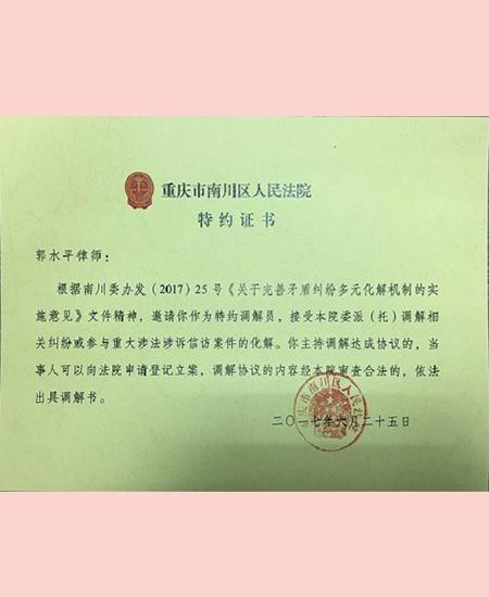 南川区人民法院特约证书